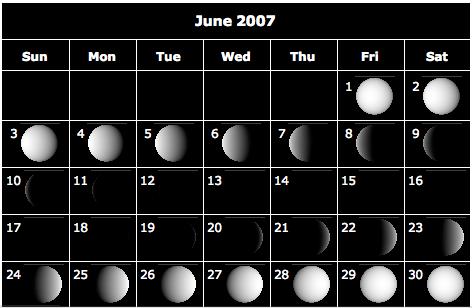 calendrier lunaire du mois de juin 2007 s 39 informer et apprendre en ligne. Black Bedroom Furniture Sets. Home Design Ideas